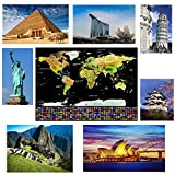 XXL Scratch Off World Map That Scratches Easily with The Complete Accessories Set. Resistant and Detailed Scratch Off Map of The World Poster with Outlined States – Islands & Capitals