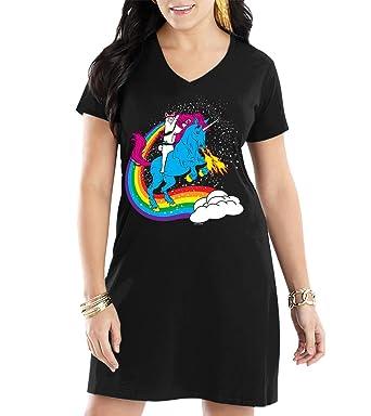 Amazon Com Women S Cat Riding Unicorn V Neck Nightshirt Clothing