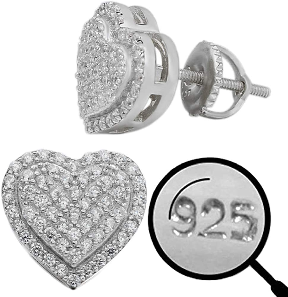 """Real Solid 925 Sterling Silver - Heart Earrings - Iced CZ 1/2"""" Heart Shaped Earrings Screw Backs - Big Hip Hop Flooded Out Aretes"""