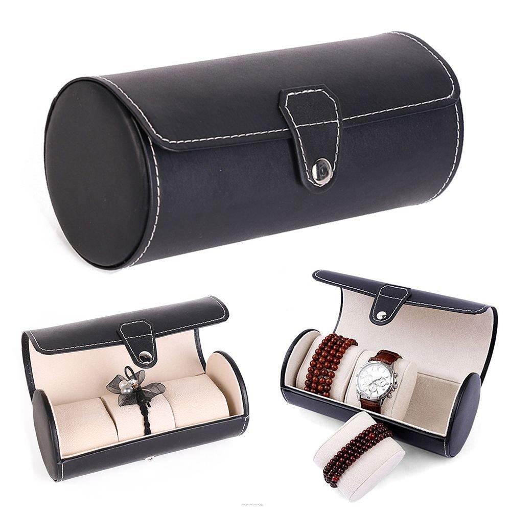Idlespace Roll Organizer Grids Jewelry Storage Case PU Leather 3 Slots Watch Display Box by Idlespace (Image #4)