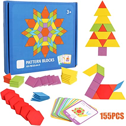 155pcs Wooden Pattern Puzzle Blocks Colourful Geometry Shapes Jigsaw Blocks Toy