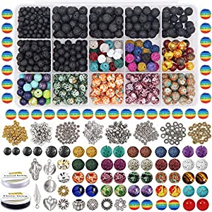 EuTengHao 702Pcs Lava Beads Stone Rock Beads Rainbow Striped Beads Kit with Chakra Beads Cloisonne Beads Spacer Beads…