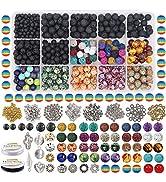 EuTengHao 702Pcs Lava Beads Stone Rock Beads Rainbow Striped Beads Kit with Chakra Beads Cloisonn...