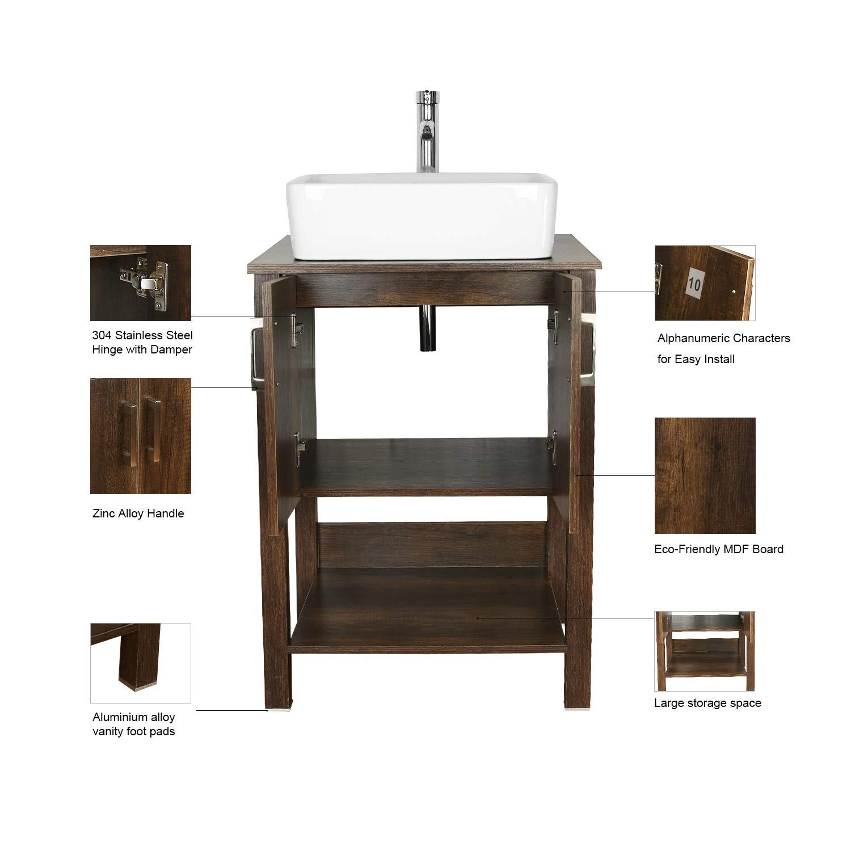 "CHEAP eclife 24"" Bathroom Vanity Sink Combo Brown Cabinet ..."