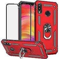 BestShare Funda para Xiaomi Redmi Note 7 Case con Protector de Pantalla de Cristal Templado, Híbrida Rugged Armor Choque Absorción de Caja con Soporte Magnetic Car Mount Function, Rojo