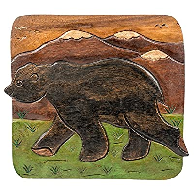 Bear in Mountains Design Hand Carved Acacia Hardwood Decorative Short Stool: Kitchen & Dining