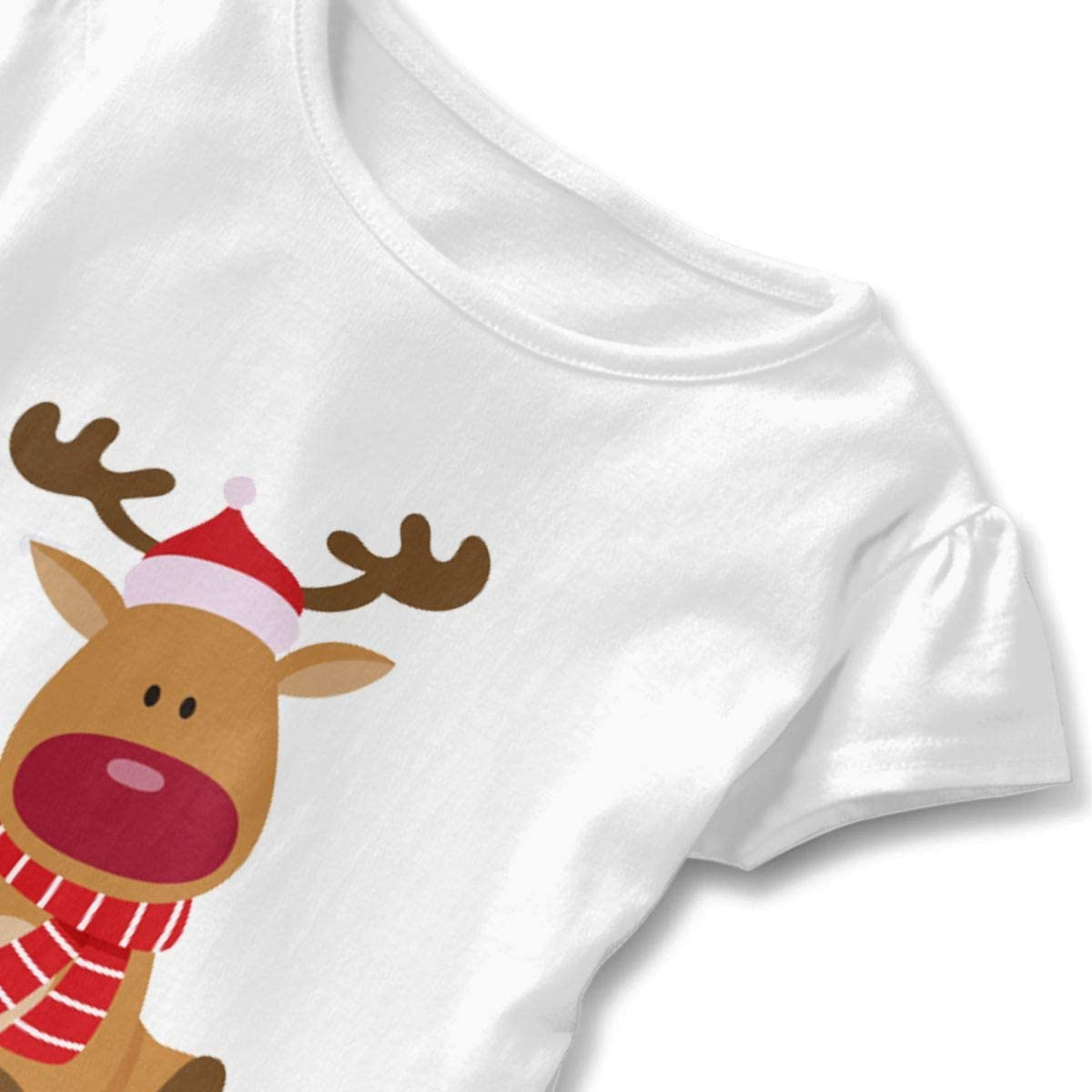 NMDJC CCQ Christmas Cute Sitting Deer Baby Skirts Fashion Kids T Shirt Dress Soft Flounces Outfits
