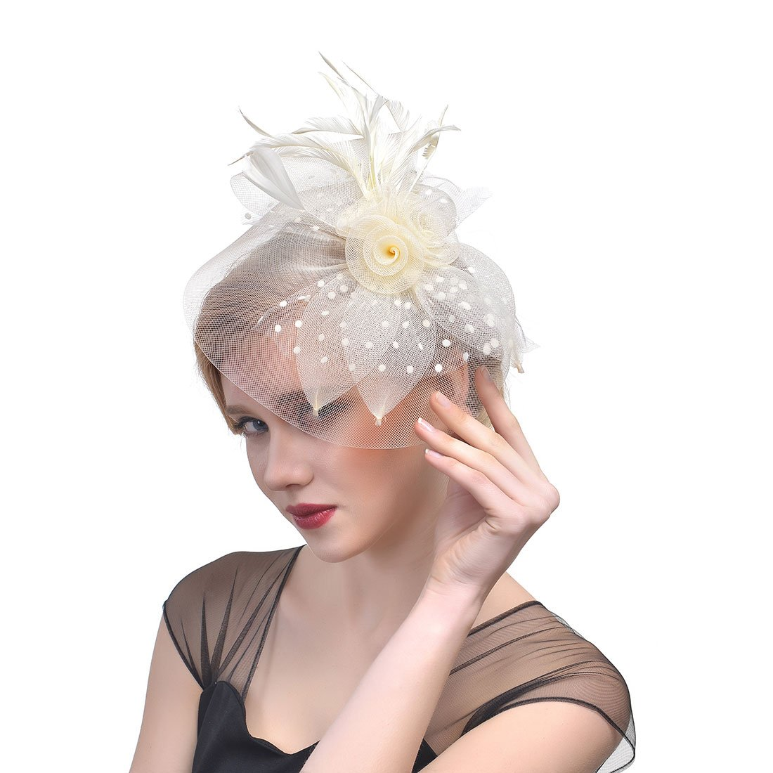 Women's Feather Hat Cocktail Derby Fascinator Headpiece Party Hair Clips (Beige)