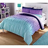 Casa Ombre Ruched Bed in A Bag Set, Queen, Blue