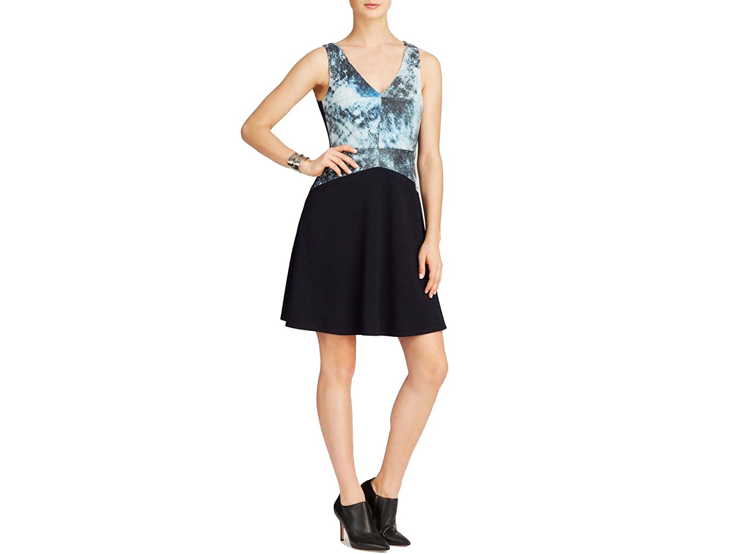Bailey 44 Womens Leather Front V-Neck Casual Dress Blue