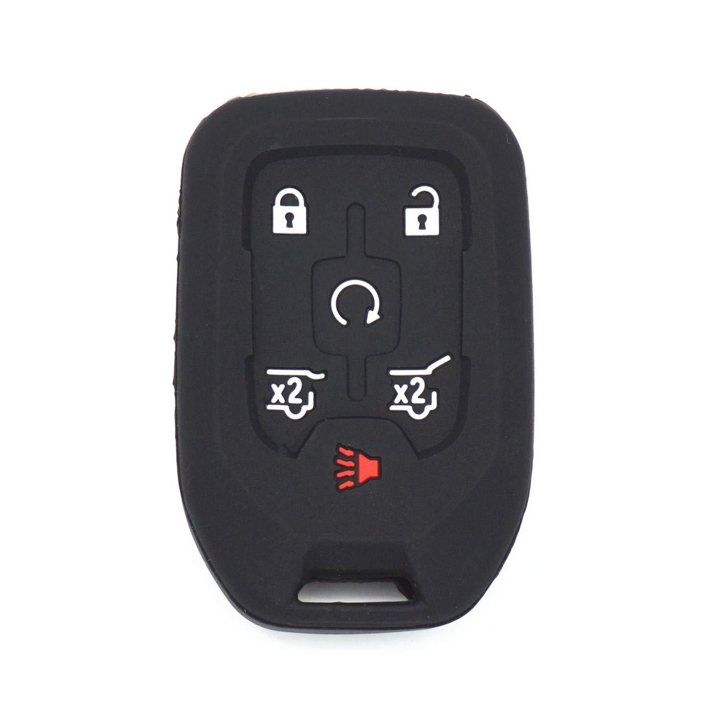 WFMJ 2Pcs Black Silicone 6 Buttons Smart Remote Key Case Cover for 2015 2016 2017 Chevrolet Suburban Tahoe GMC Yukon