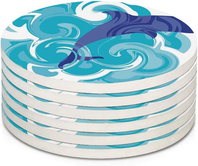 Dolphin 6 Pieces Ceramic Drink Coasters,Abstract Representation of Waves Aqua Life Soft Color Image Nature Scenes Absorbent Stone Coaster Set,Housewarming Gift for Home Decor,Violet Blue Sky Blue