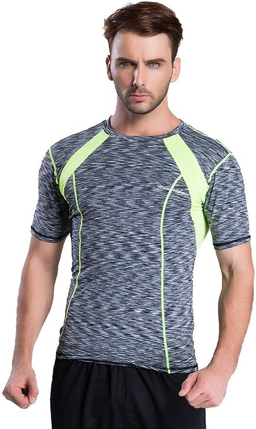 Camisa ajustada de compresión para hombre. Camisetas de manga corta para hombre Cool Dry Camisetas de entrenamiento con cuello redondo para ciclismo, entrenamiento, ejercicios, ejercicio 2 colores Eje: Amazon.es: Hogar