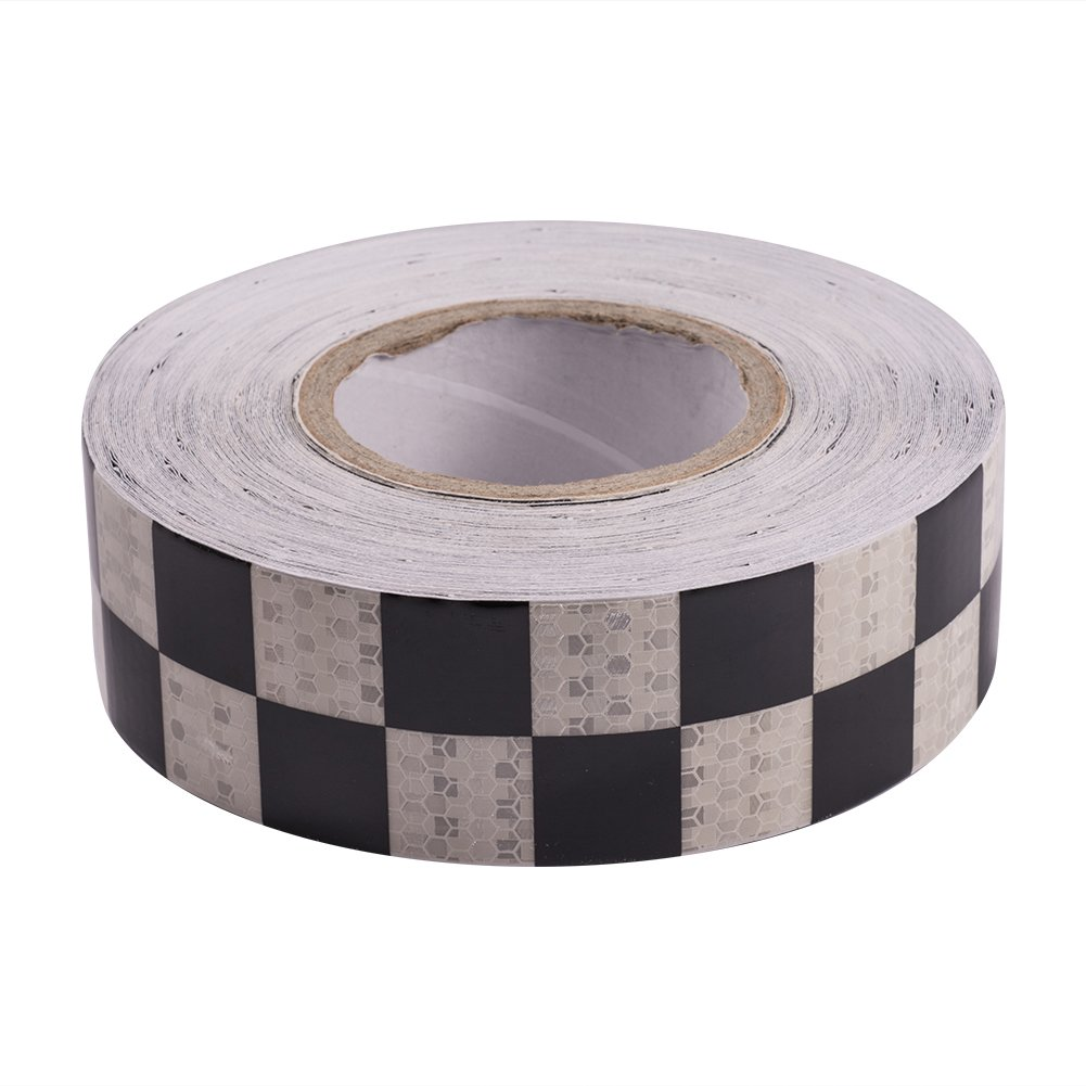 ATMOMO WHITE and BLACK Night Reflective Safety Sticker Conspicuity Safety Warning Tape Strip For Car Truck Trailer Mailbox 5CMx25M