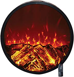 Round Fireplace for Wall Insert Recessed Mounted - Ornamental Electric Heater Stove with W/Logs 3D Flames - Safe Sensor - Smart Remote Control - 1500W / Black