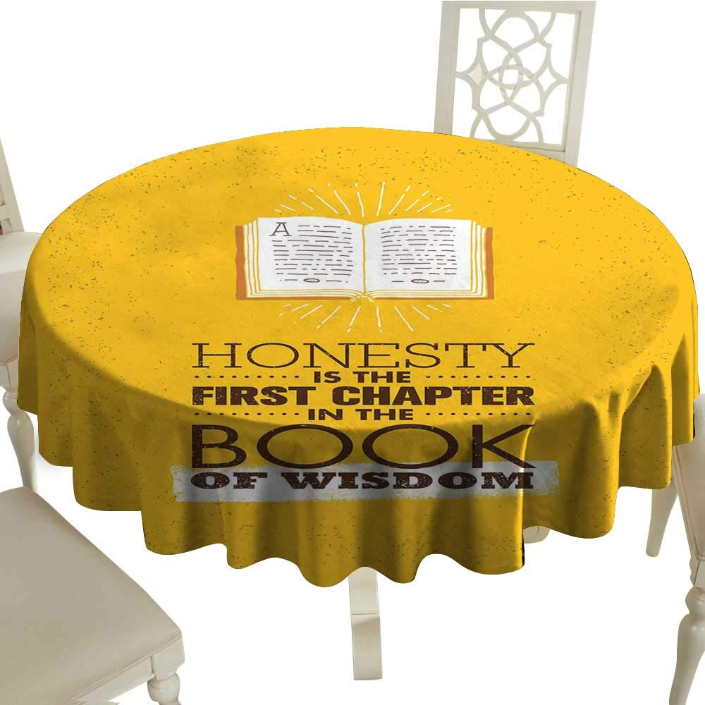 """Unpremoon Tablecloth Book,Book of Wisdom Inspirational Quote on Yellow Background Chapter of Honesty,Earth Yellow Redwood Table Cover for Kitchen Dinning D 36"""""""
