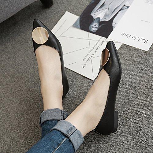 Xue Qiqi Sugerencia Calzado Plano de luz Redonda Plana de Amarre con Solo Zapatos Femeninos traficando con Patadas Bajas con Cuero Zapatos de Mujer Desayuno Negro