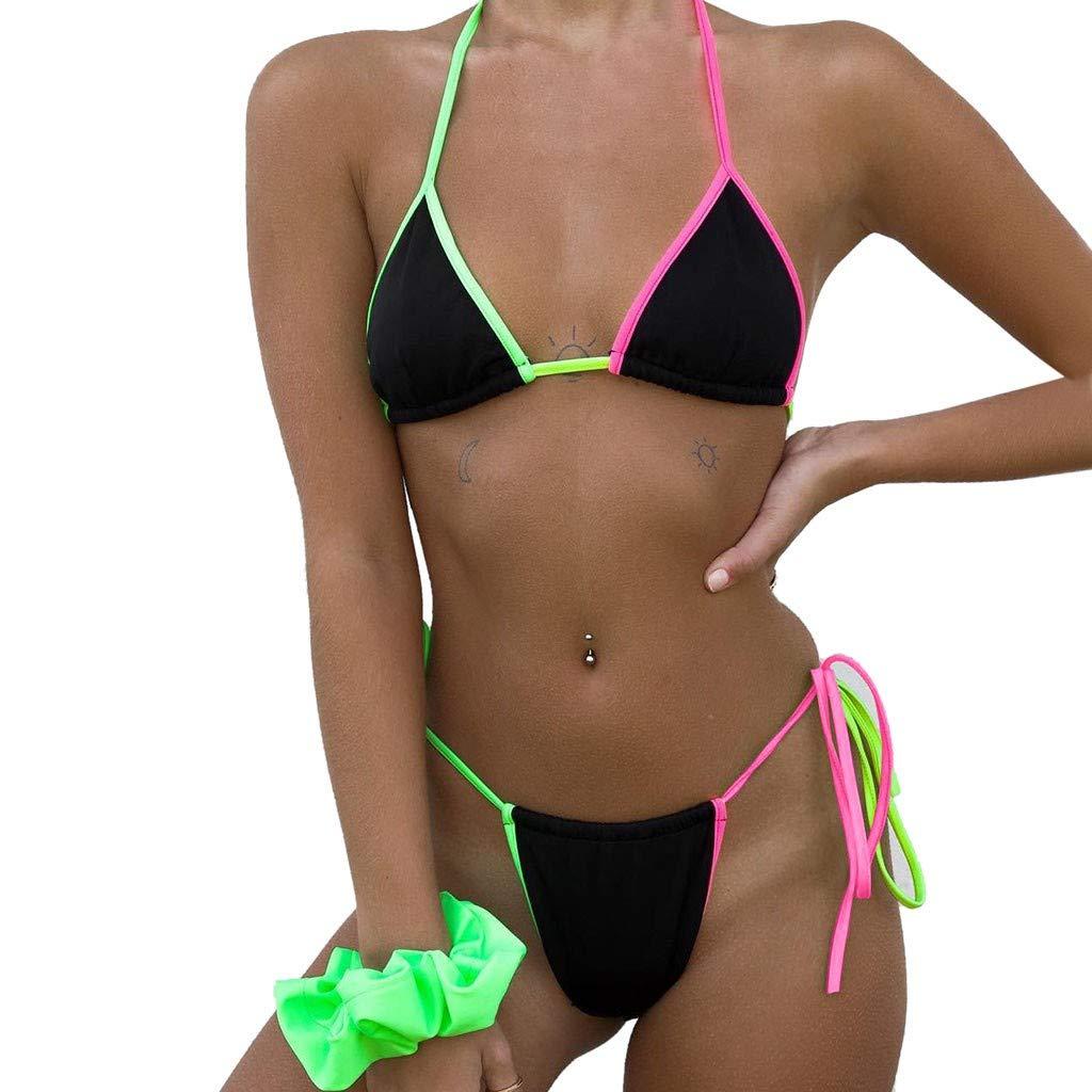 Lovewe Sexy Womens Low Waist Bandage Bikini Swimsuit Push-Up Padded Bra Striped Print Swimwear (Black, S)