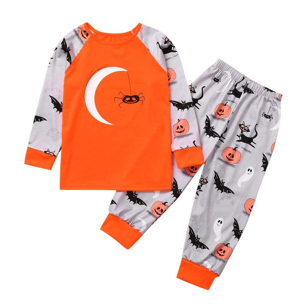 Coupondeal Halloween Family Pack Children Long Sleeve Cartoon Print Pumpkin Bat T-Shirt Top(Orange✧,4-5 Years Kid) by Coupondeal_Pajamas
