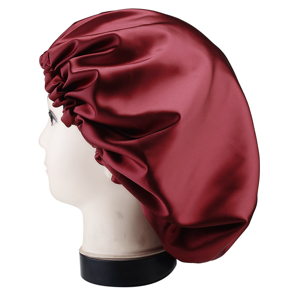 YANIBEST Large Sleep Bonnet Cap Womens Satin Bonnet for Sleeping, Extra Large, WineRed/Black Double Layer, Super Smooth, for Natural Long Hair