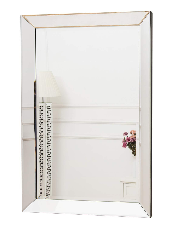 Bordo smussato Super Bianco Argento rettangolo Specchio Moderno per Sala da Pranzo 60/x 90/cm RICHTOP 3D Specchio da Parete