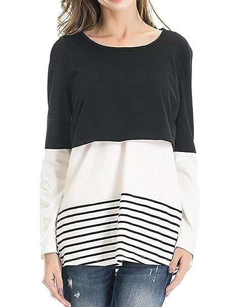 ff3980f6fd besbomig Womens Maternity Nursing T-Shirt Back Lace Striped Breastfeeding  Tops - Long Sleeve Layered Design Maternity wear  Amazon.co.uk  Clothing