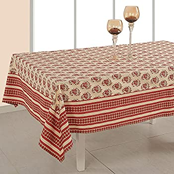 Indian Home Decor Rectangular Floral Print Cotton Tablecloth 60 X 90 Inches    6 Seater