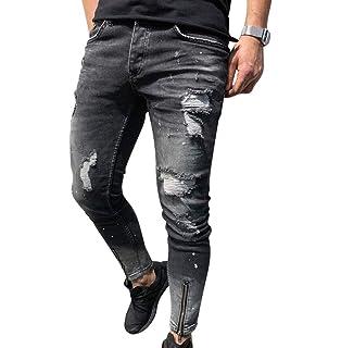 93db5b0b1884f WanYangg Skinny Jeans Homme, Hommes Extensible Déchiré Fermeture À  Glissière Troué Mode Biker Jeans Super