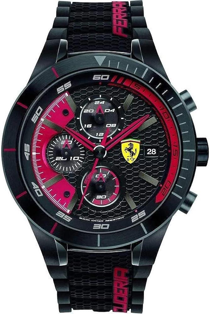 Ferrari Mens 0830260 REDREV EVO Analog Display Quartz Black Watch