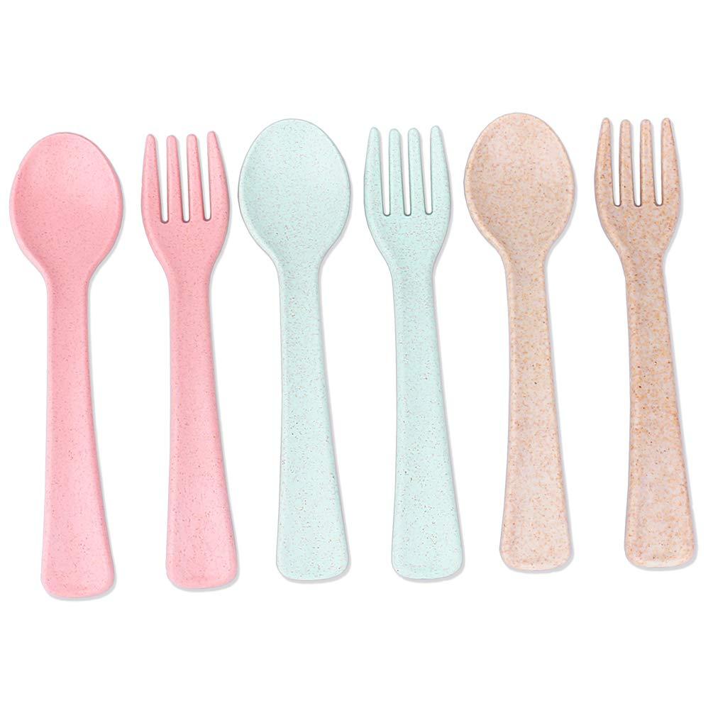 Travel Toddler Utensils Baby Training Forks & Spoons Set of 6 for Kids Self Feeding BPA Free Plastic