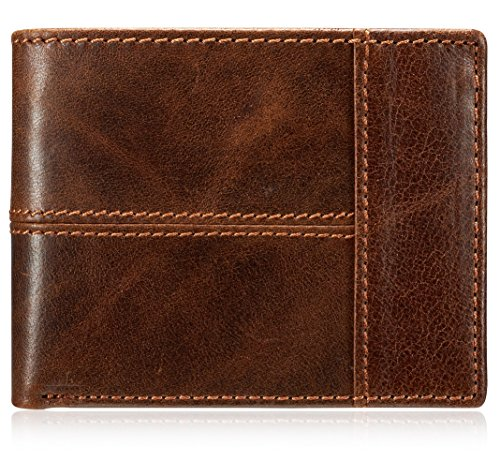 Leather Mens Zipper (Men's Classic Vintage Brown Genuine Cow Leather Zipper Bifold Wallet)