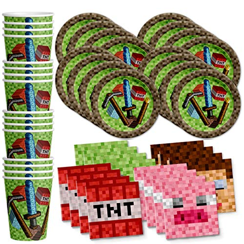 Mining Pixel World Birthday Party Supplies Set Plates Napkins Cups Kit for 16