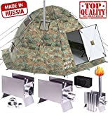 Winter Tent with Stove Pipe Vent. Hunting Fishing Outfitter Tent with Wood Stove. 4 Season Tent. Expedition Arctic Living Warm Tent. Army Military Tent. For Fishermen, Hunters and Outdoor Enthusiasts! Review