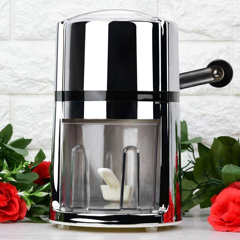 Portable Hand Crank Round Household Ice Shaver Manual Ice Crusher Snow Cone Maker Kitchen Tool