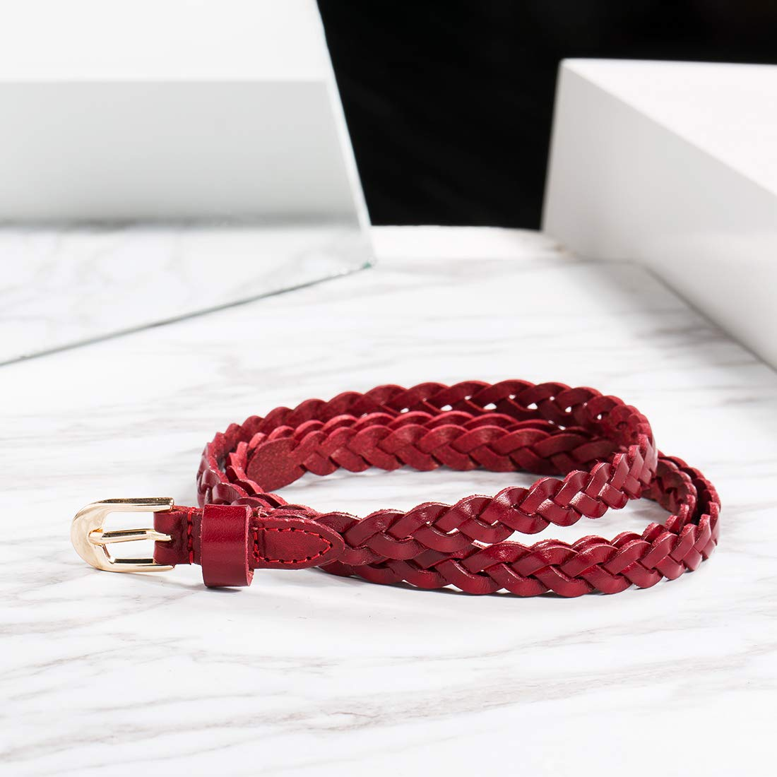 Women Cow Leather Stylish Adjustable Casual Skinny Belts Woven Stretch Braided Red Belts by OMENTAR (Image #2)