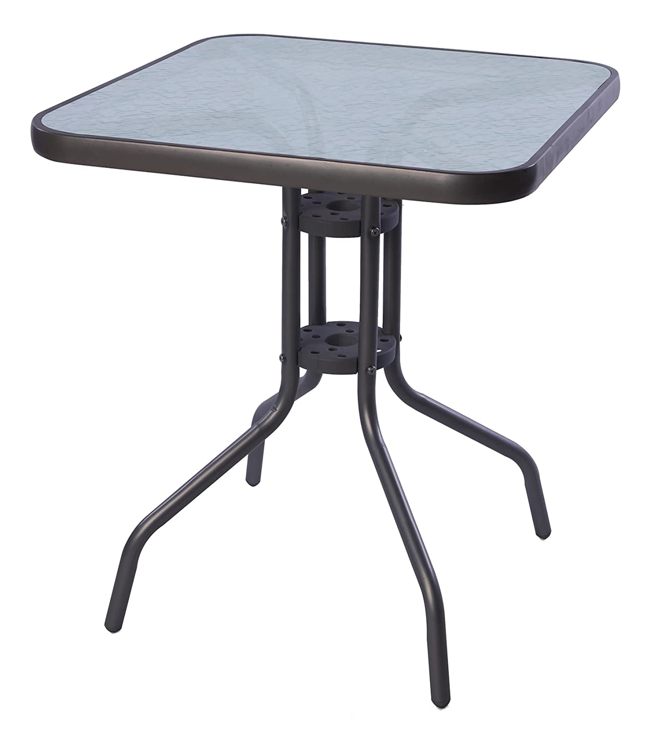 Bistro Table 60 x 60 cm Glass/Metal Anthracite/Dark Grey Balcony Table/Garden Table Mojawo