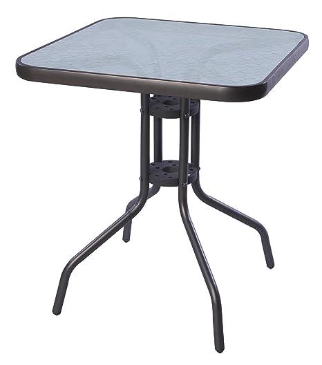 Mojawo Table de bistrot 60 x 60 cm Verre/Métal Anthracite ...