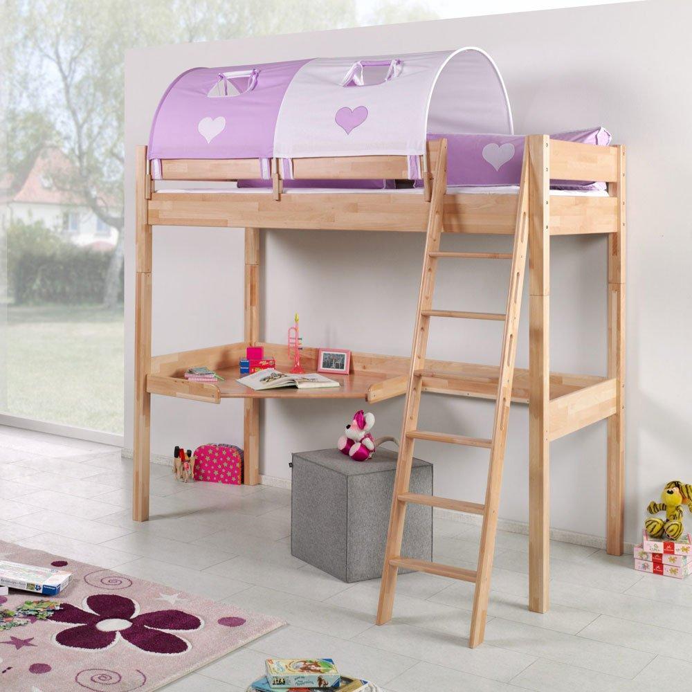 Pharao24 Hohes Kinderbett aus Buche Massivholz Tunnel und Schreibtisch