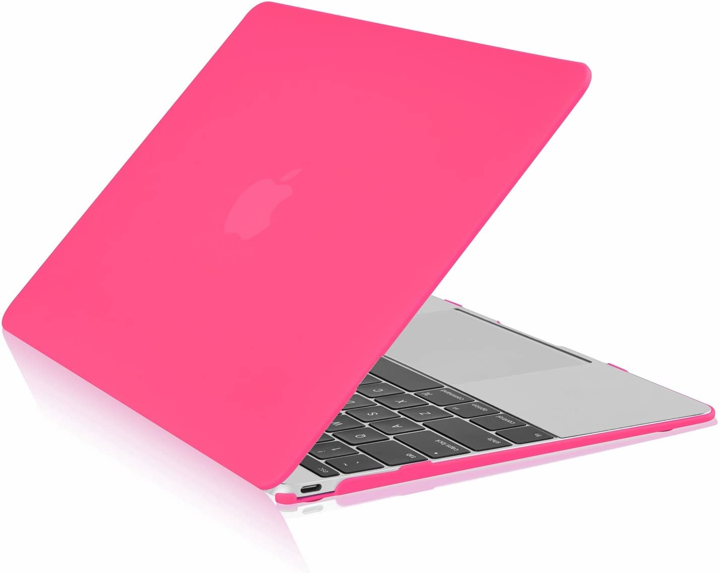 """TOP CASE - Classic Series Rubberized Hard Case Compatible MacBook 12"""" Retina Display Model A1534 (Release 2015) - Hot Pink"""