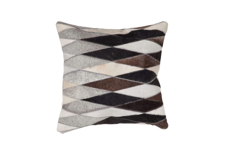 Kissen Leder Handarbeit Kuhfell Patchwork Fell Style SALE Grau 45x45cm