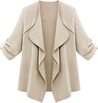 CYJ-shiba Womens Long Sleeve Collarless Bomber Tweed Jacket Coat