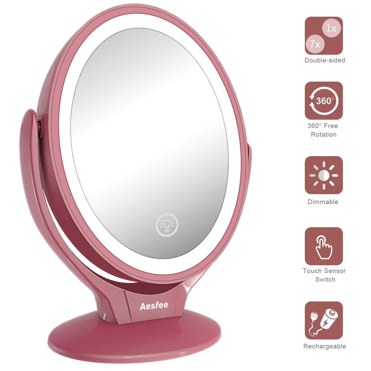 LED Lighted Makeup Vanity Mirror Rechargeable,1x/7x Magnification Double Sided 360 Degree Swivel Magnifying Mirror with Dimmable Touch Screen,Portable Tabletop Illuminated Cosmetic Mirrors (Rose Gold)