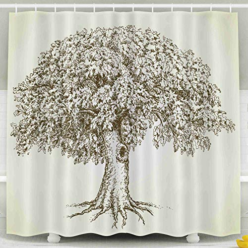 Musesh Fabric Shower Curtain,Kids Shower Accessories, 78x72 Inch Shower Curtain Home Decoration Set with Hooks Cute Mighty Tree Hollow Lush Green Leaves Grass Monochrome Freehand Linear Ink Backdrop