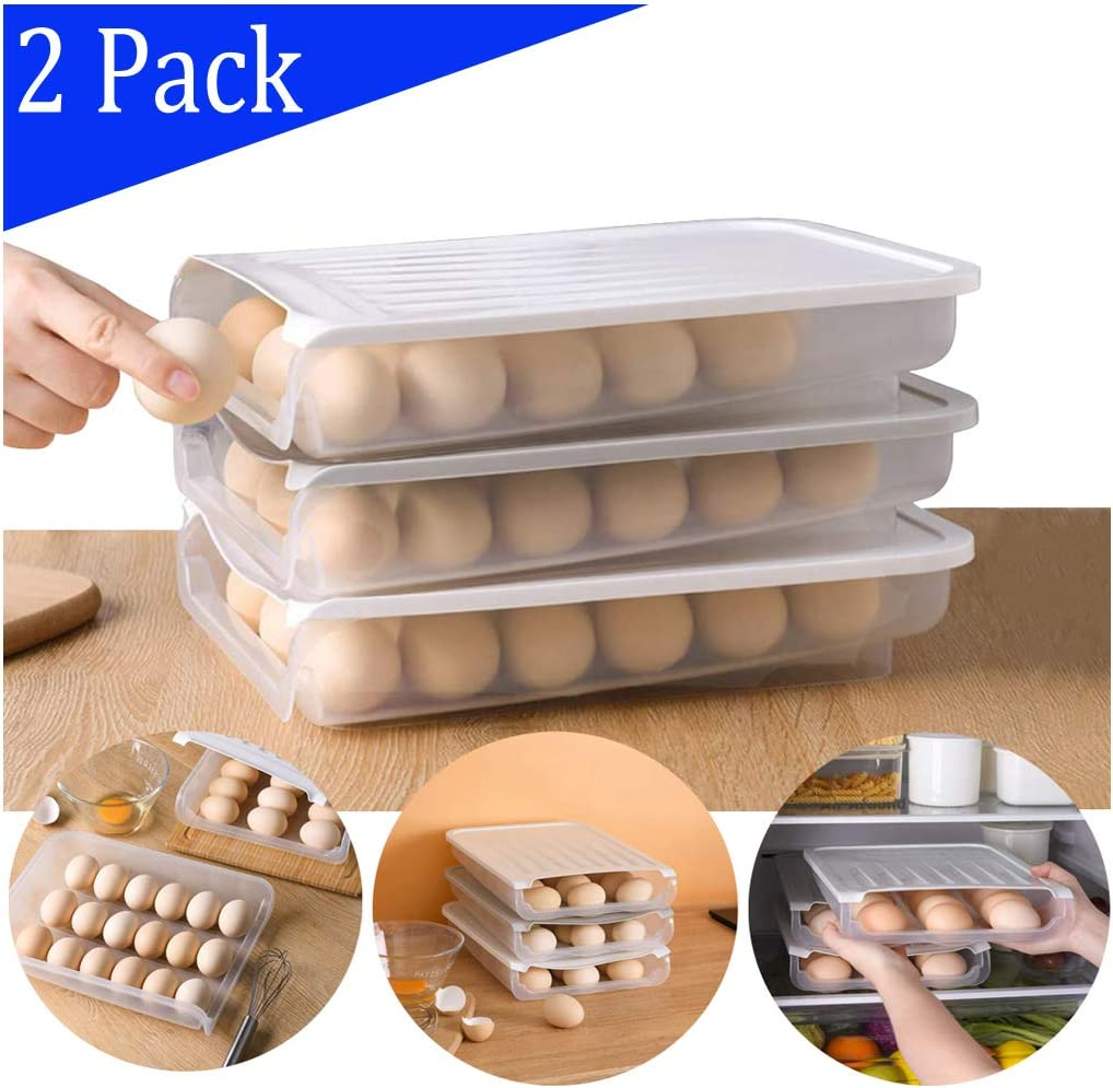 Auto Scrolling Egg Storage Holder, Plastic Egg Container Food Boxes, Kitchen Refrigerator Egg Storage Box, Can Hold Up to 18 Eggs (2,White)