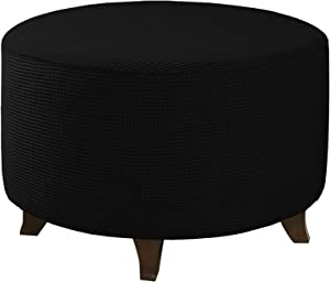 WOMACO Round Ottoman Slipcover Stretch Round Footstool Covers Storage Stool Ottoman Furniture Slip Cover Protector with Elastic Bottom (Black, Medium)