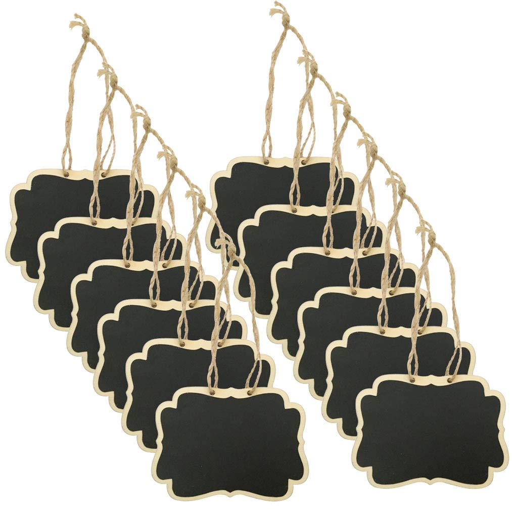 Alyan&Jammsy 12pcs Hanging Wooden Chalkboard Tags, Beverage Lables, Signs for Pantry, Laundry Basket.