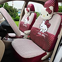Fashion Cartoon Cat Universal Car Seat Covers Women Sexy Car Right and Left Seat Cushion (rose red)