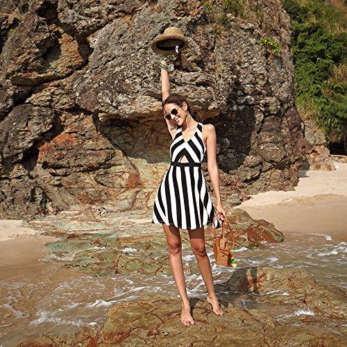 La Vestido La La Vestido Raya Falda strips black Vestido Noche De Meizizivestido De Playa MeiZiZi De De Casual Del gwZEH