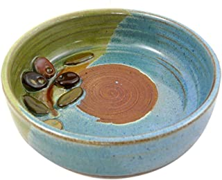 product image for Garlic Grater Dish with Olive Design, Stoneware Pottery, Made in USA