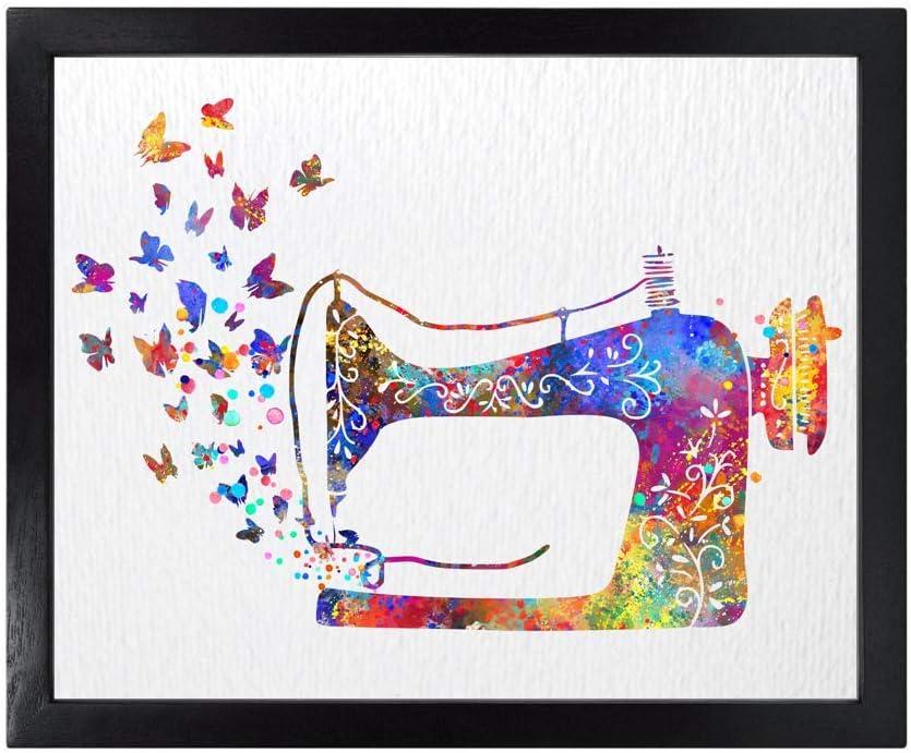Dignovel Studios Unframed Sewing Machine Butterfly Seamstress Sewing Watercolor Art Wedding Housewarming Nursery Kids Wall Art Giclee Office Home Decor Wall Hanging DN533 (8X10 inch)